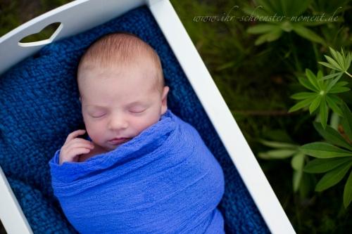 neugeborenenfoto draußen blau