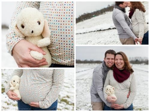 babybauchfotografie im schnee