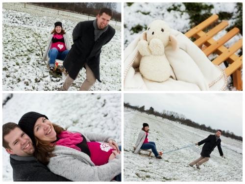 babybauchfotos im schnee