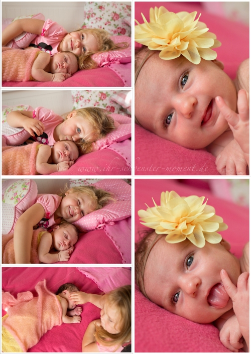Collage Geschwisterfotos Neugeborenen